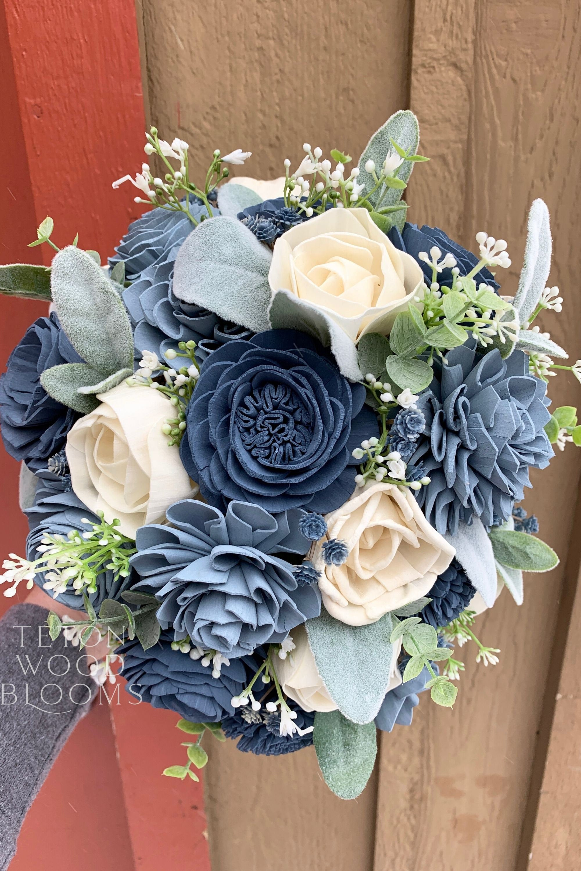Dusty Blue And Slate Blue Bouquet Teton Wood Blooms