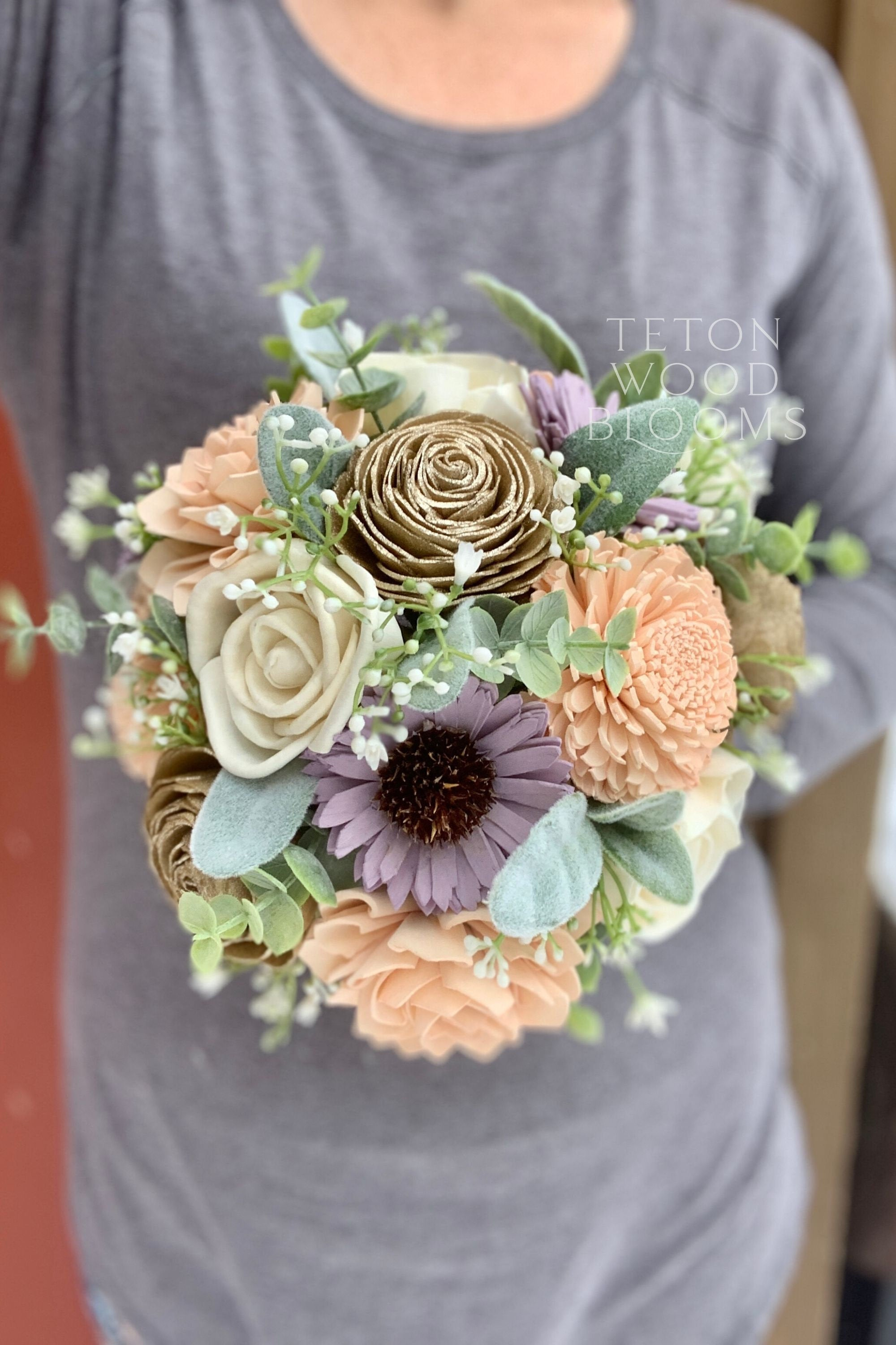 Gold, Blush, and Wisteria Bouquet