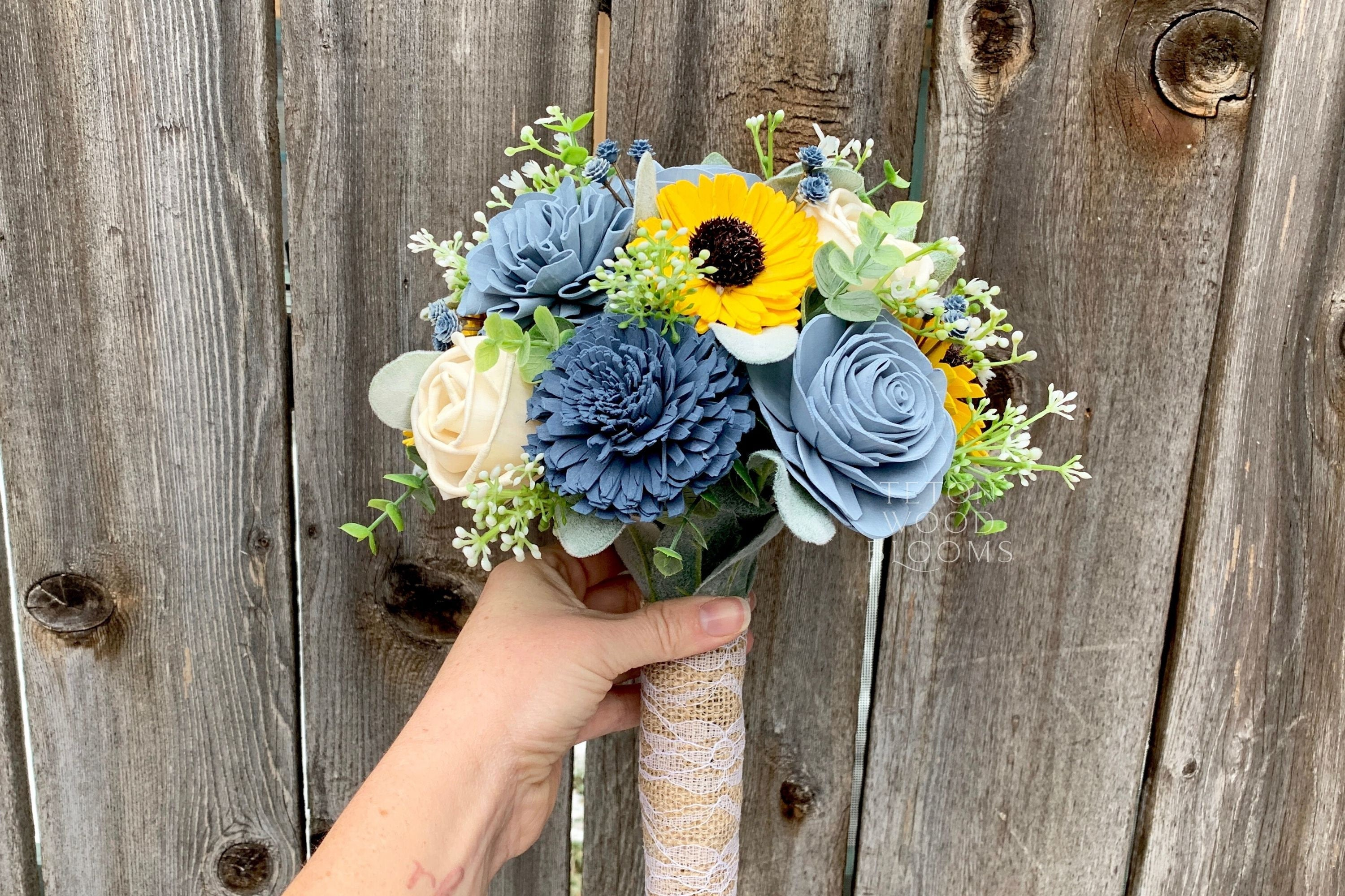 Sunflower and Dusty Blues Bouquet