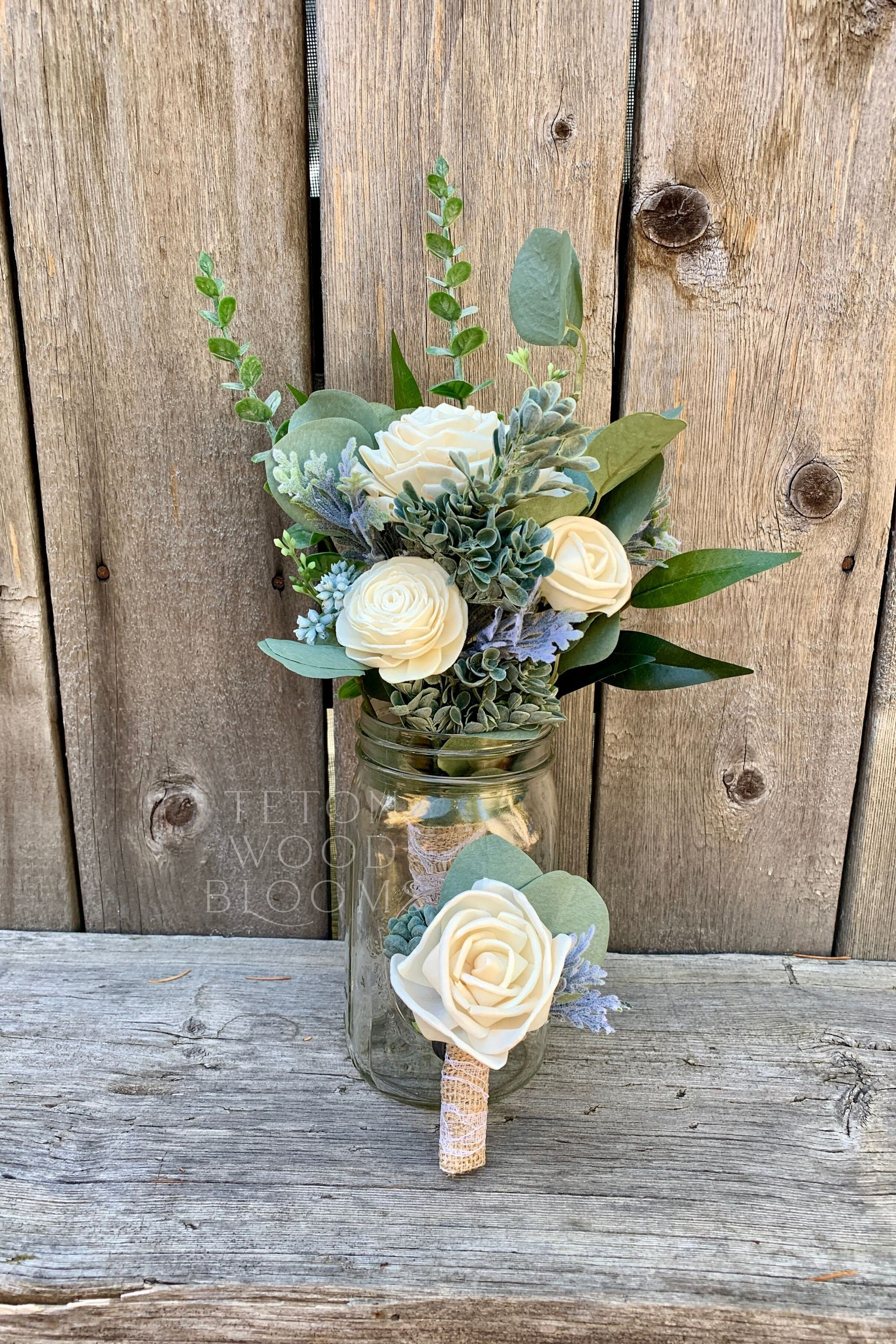 Ivory and Eucalyptus Boutonniere