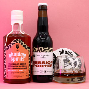 Load image into Gallery viewer, Phantom Spirits x Mikkeller x Bean Geek Chocolate / BA Cocoa Nibs Infused Shake Rum + Collab Porter + Glassware + Stickerpack