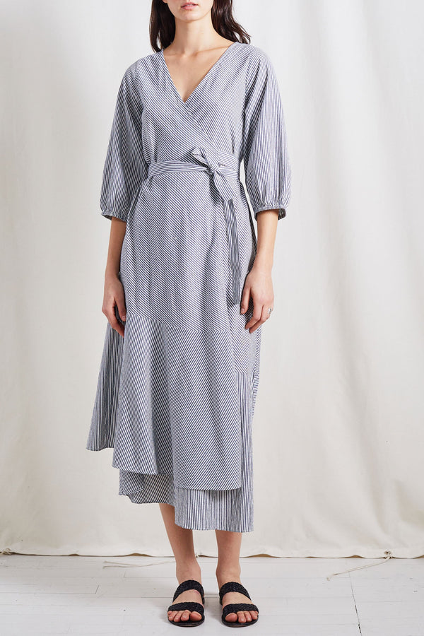 Apiece Apart Sierra Dress Cream Navy Stripe