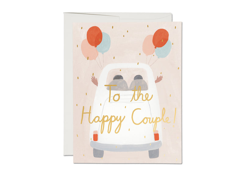 Red Cap Cards Away They Go Wedding Card