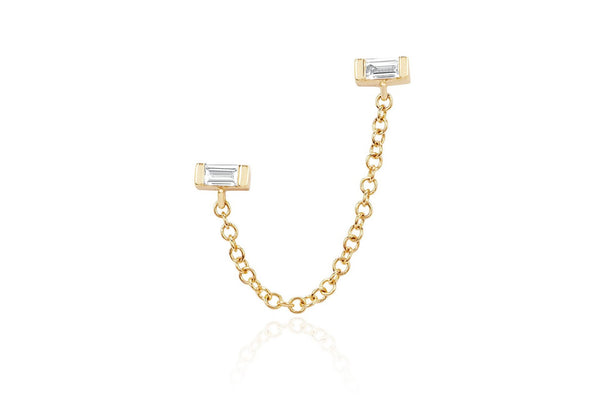 EF Collection Diamond Baguette Chain Double Stud Earring (SINGLE)