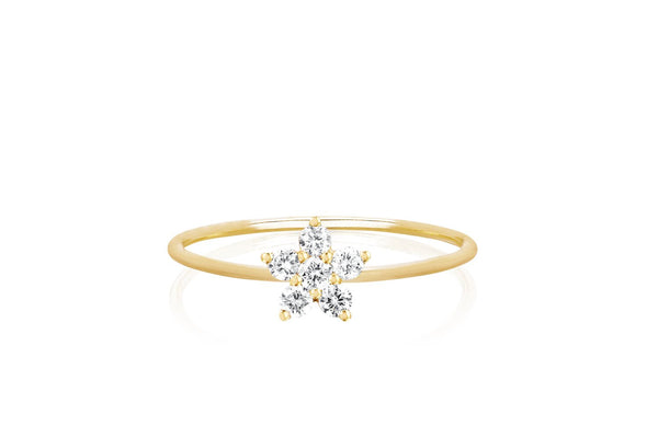EF Collection Diamond Mini Flower Stack Ring
