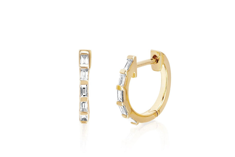EF Collection Diamond Baguette Huggie Earring (SINGLE)