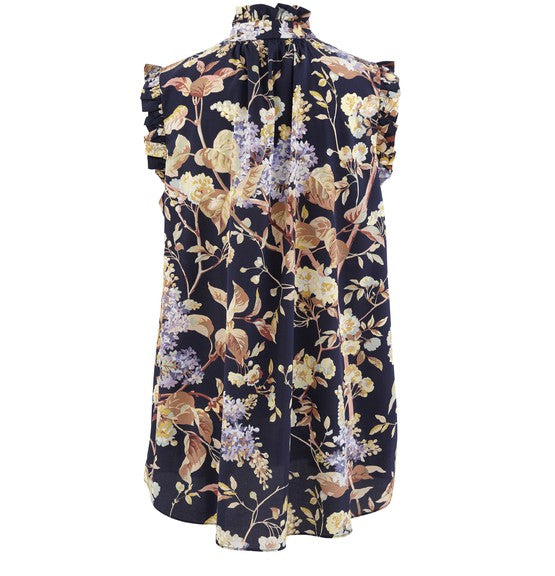 Zimmermann Sabotage Silk Sleeveless Top Midnight Wisteria