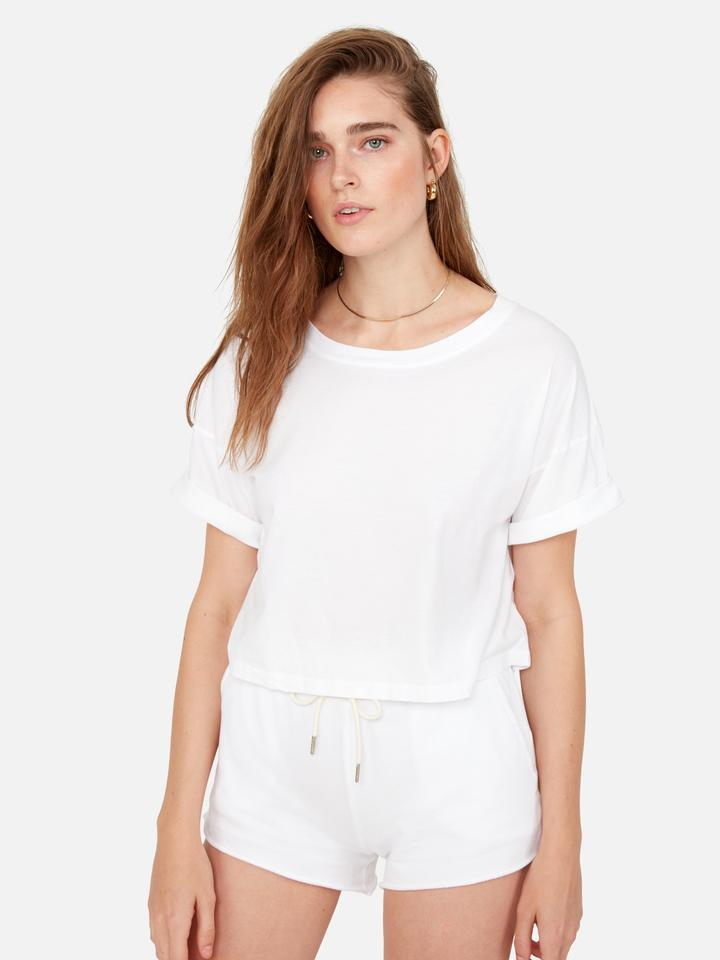 Mate the Label Boxy Crop True White