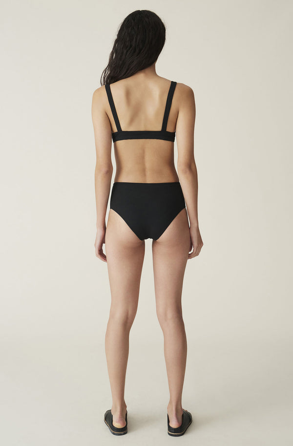 Ganni Highrise Bikini Briefs Solid Black