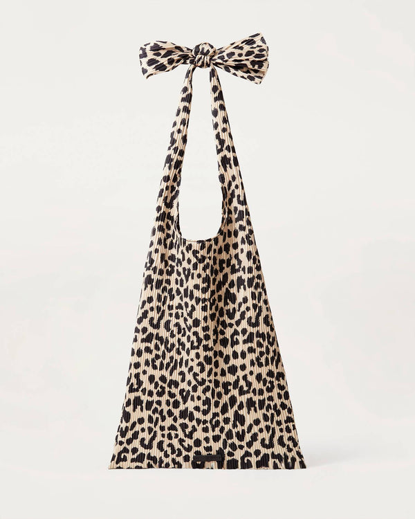 Loeffler Randall Bex Pleated Knot Shoulder Bag Leopard