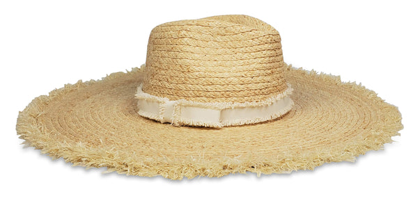 Hat Attack Coverup Sunhat Natural Ivory Fray Edge Ribbon