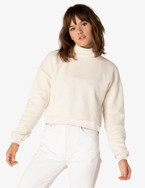 Beyond Yoga All Time Cropped Pullover Cream Sherpa