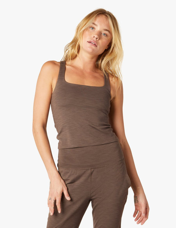 Beyond Yoga Square Neck Tank Coco Brown Heather