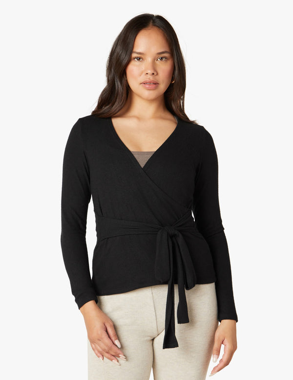 Beyond Yoga Wrap It Up Pullover Black