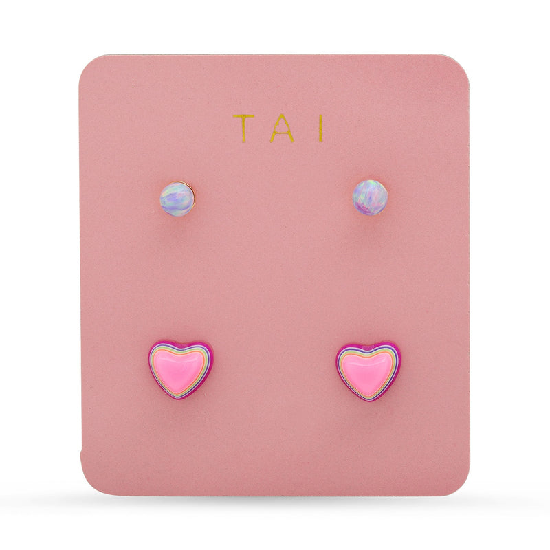 Tai Set of 2 - Rainbow heart post with purple opal simple posts