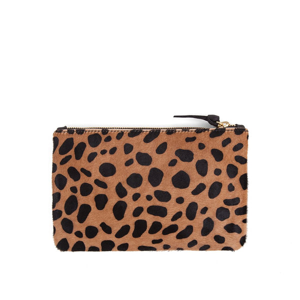 Clare V Leopard Hair-On Wallet Clutch Tan