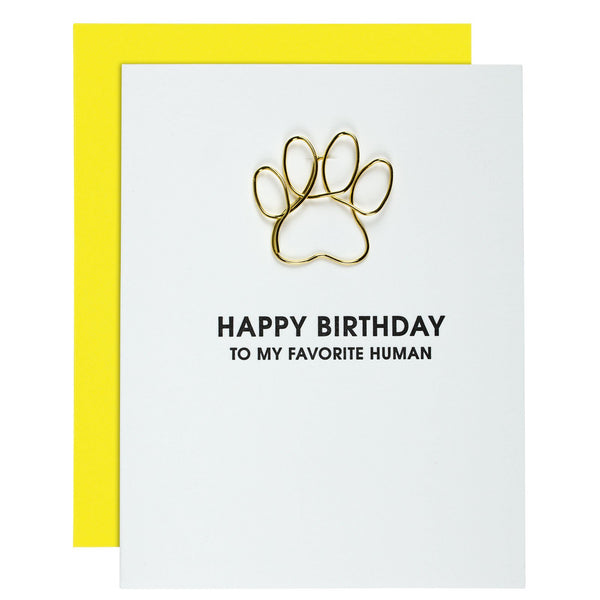 Chez Gagne Birthday Favorite Human - Pawprint Paperclip card