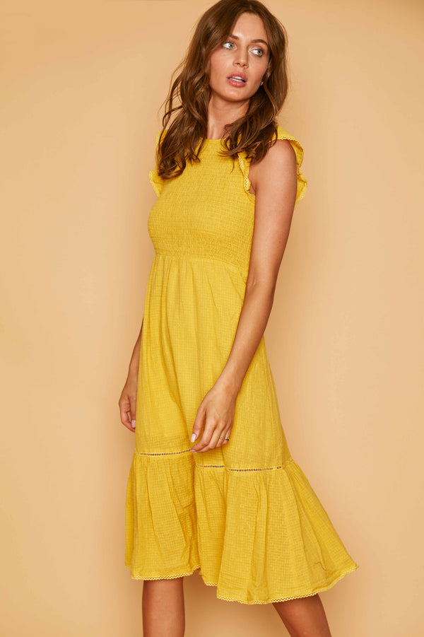 Lost + Wander Daffodil Midi Dress Yellow