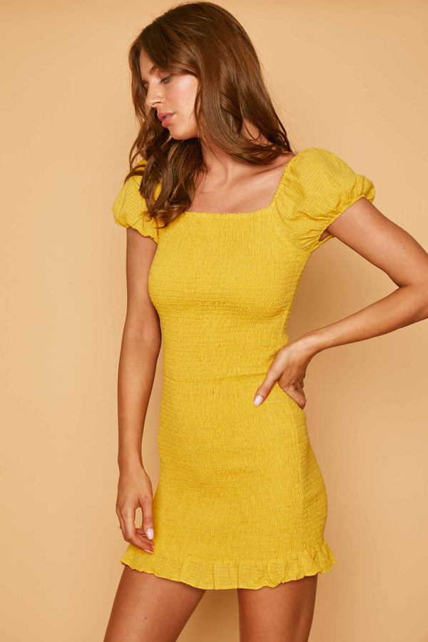 Lost + Wander Daffodil Mini Dress Yellow