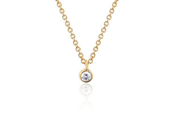EF Collection Single Diamond Bezel Chain Necklace
