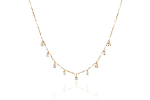 EF Collection Diamond Bezel & Pearl Necklace