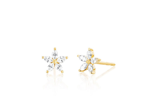 EF Collection Marquise Diamond Flower Stud Earring (PAIR)