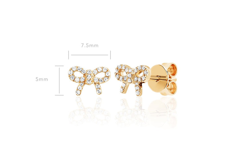 EF Collection Diamond Mini Bow Stud Earring (PAIR)
