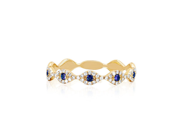 EF Collection Diamond Multi Blue Sapphire Evil Eye Stack Ring