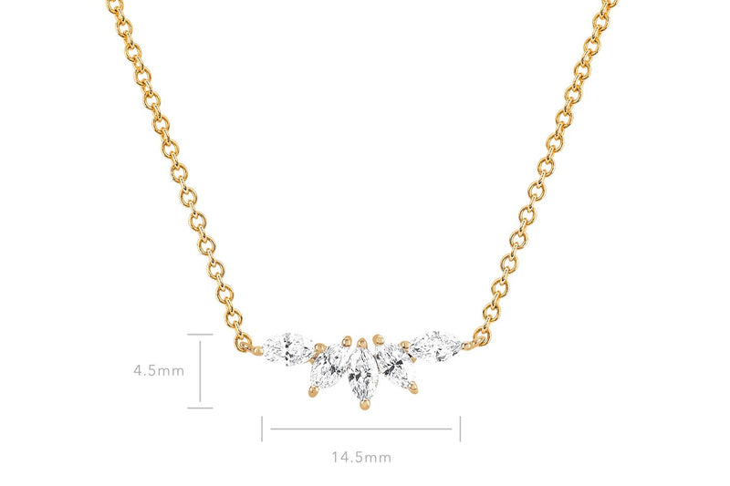 EF Collection Diamond marquise Fan Necklace