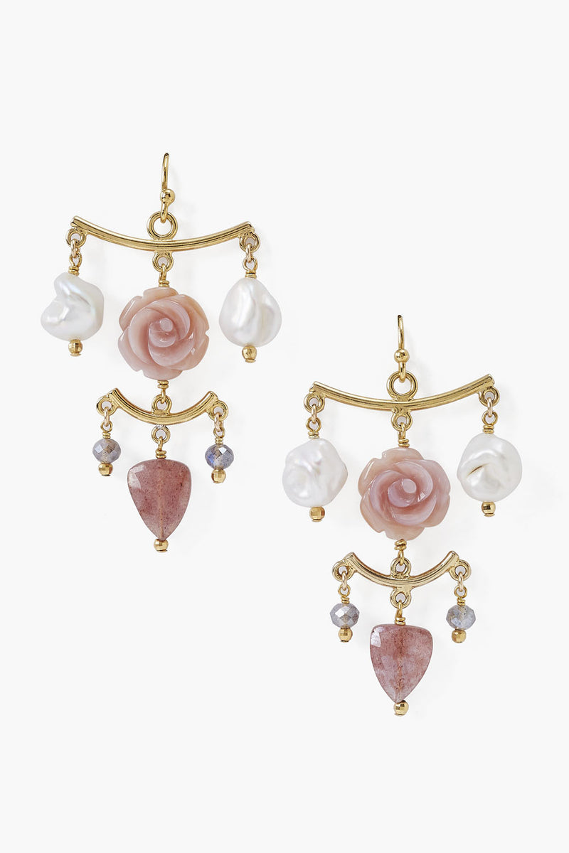 Chan Luu Chandelier Flower White Pearl Earrings w/ Semi Precious Stones