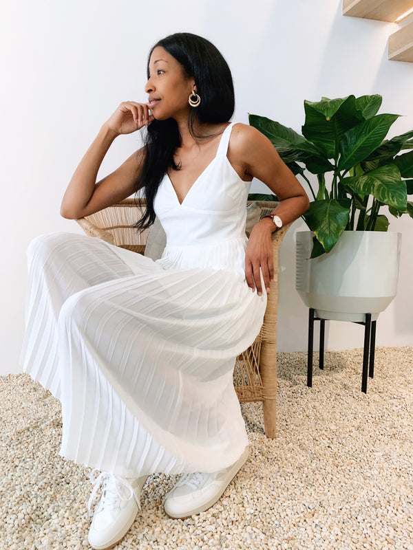 Vince Pleated Jumpsuit Optic White