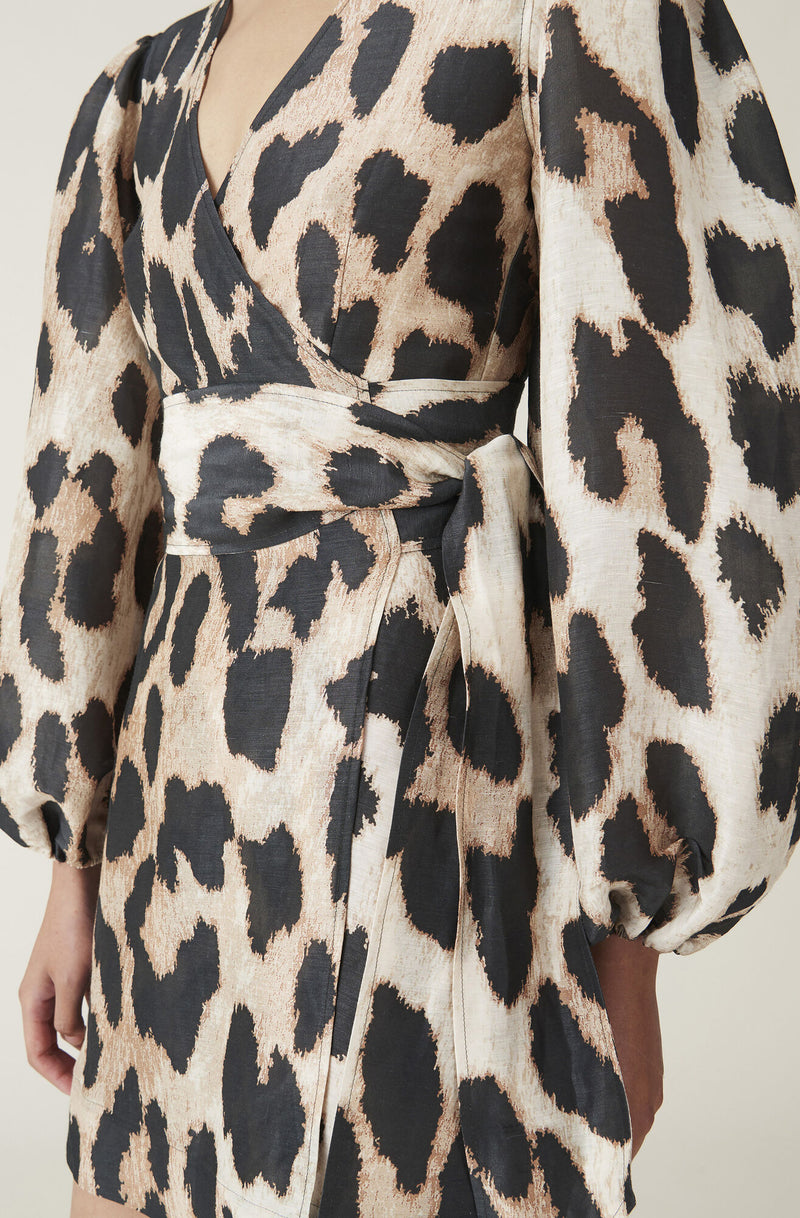 Ganni Silk Linen Wrap Dress Maxi Leopard
