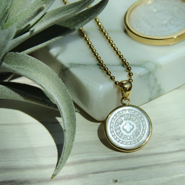 Bermuda Coordinates Mother of Pearl Charm 14K Gold
