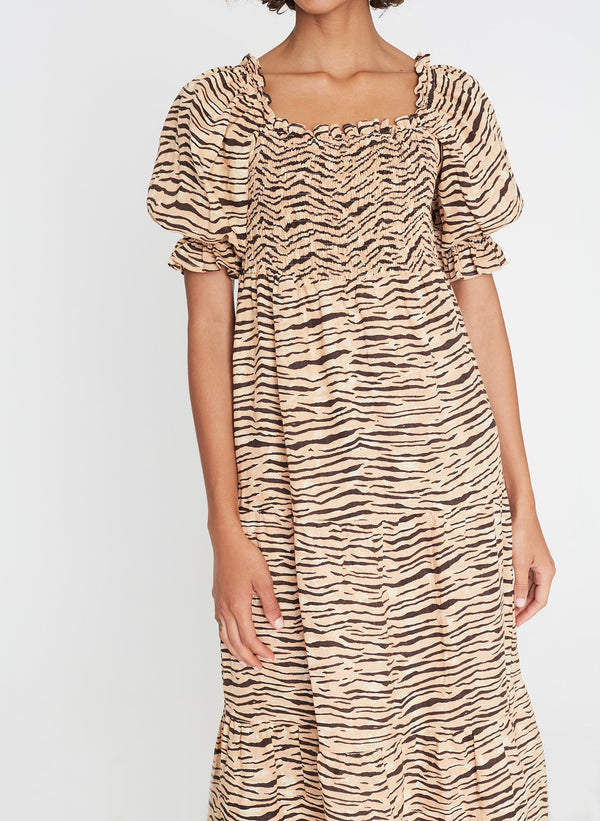 Faithfull the Brand De Christin Midi Dress Wyldie Animal Print