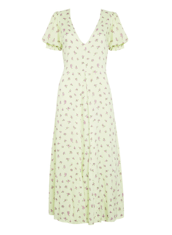 Faithfull the Brand Maggie Midi Dress Luda Floral Print Lime