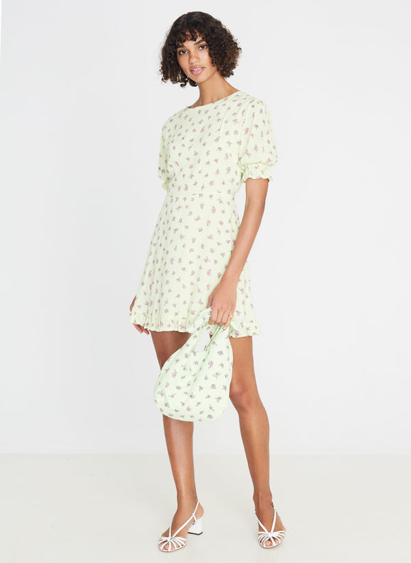 Faithfull the Brand Florence Mini Dress Luda Floral Print Lime