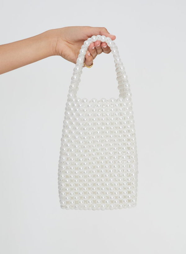 Faithfull the Brand Frederikke Beaded Bag White Pearl