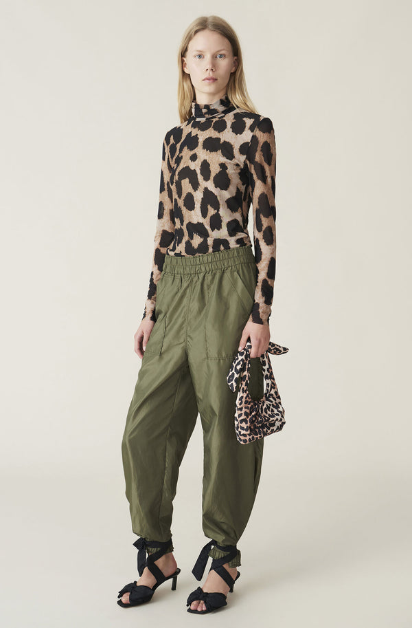 Ganni Padded Tech Fabric Mini Tote Bag Leopard