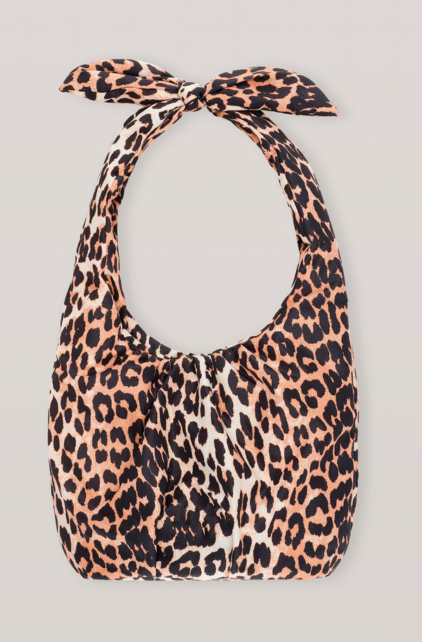 Ganni Padded Tech Fabric Tote Bag Leopard