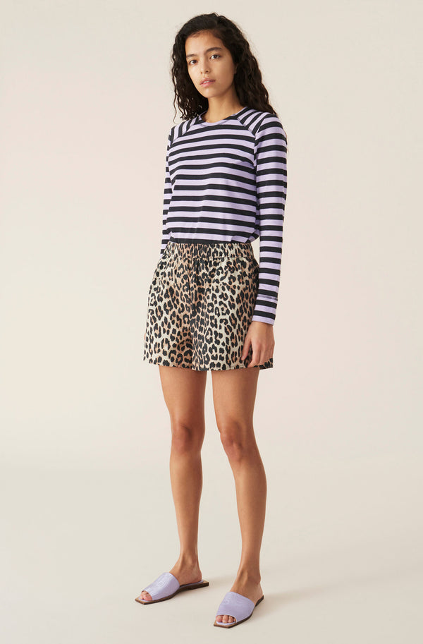 Ganni Printed Cotton Poplin Shorts Leopard