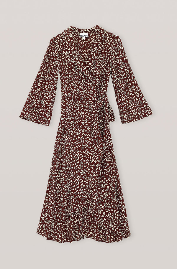 Ganni Printed Crepe Wrap Dress Decadent Chocolate