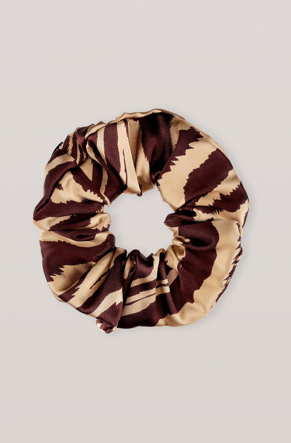 Ganni Silk Stretch Satin Scrunchie Tannin