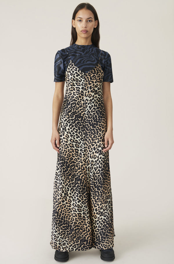 Ganni Silk Stretch Satin Slip Dress Leopard