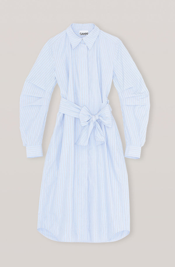 Ganni Stripe Cotton Dress Brunnera Blue