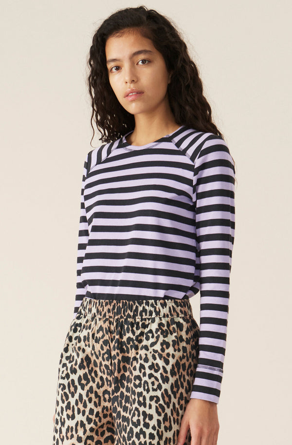 Ganni Striped Cotton Jersey Pullover Violet Tulip