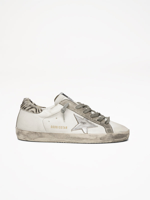 Golden Goose Superstar Col V29 White Leather Metal Silver Star Pony Ziger