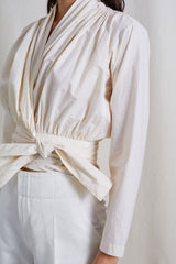 Apiece Apart Greta Wrap Top Cream