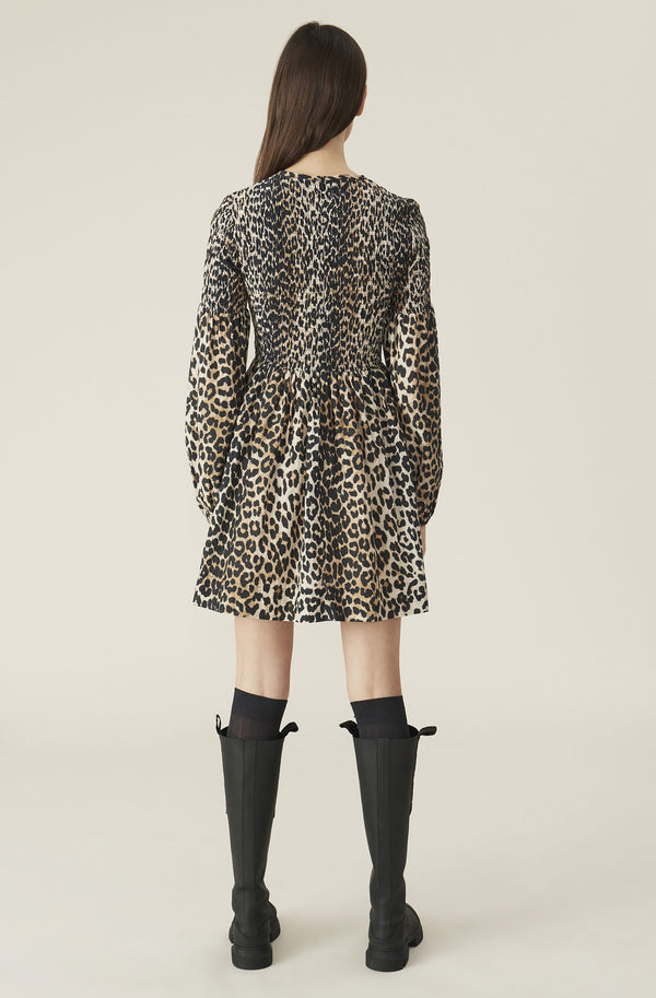 Ganni Cotton Silk Mini Smock Dress Leopard