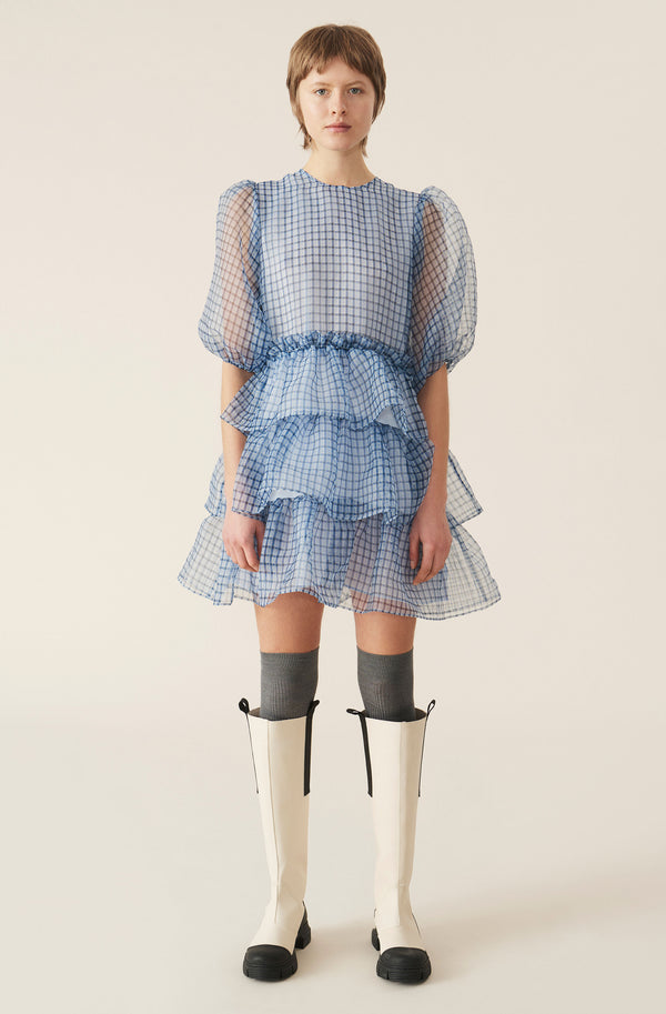 Ganni Organza Mini Dress Heather