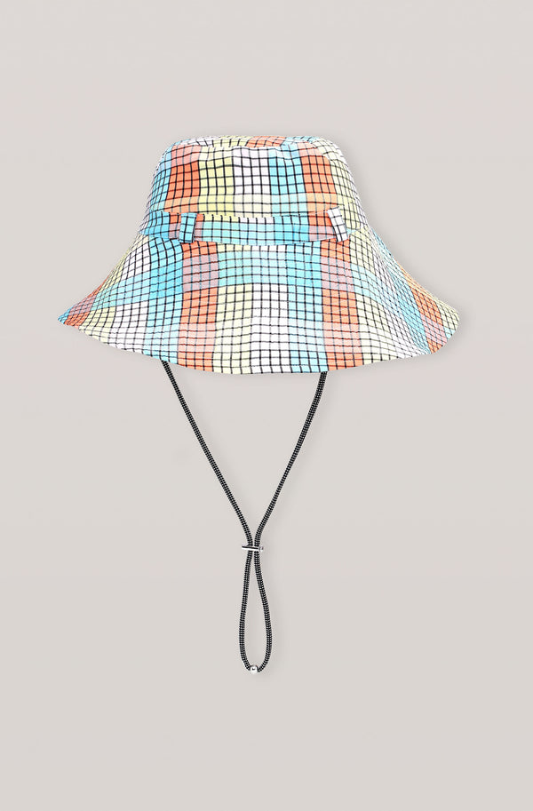 Ganni Seersucker Check Hat Multicolour